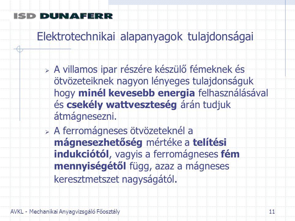 AVKL - Mechanikai Anyagvizsgáló Főosztály 11 Elektrotechnikai alapanyagok tulajdonságai  A villamos ipar részére készülő fémeknek és ötvözeteiknek nagyon lényeges tulajdonságuk hogy minél kevesebb energia felhasználásával és csekély wattveszteség árán tudjuk átmágnesezni.