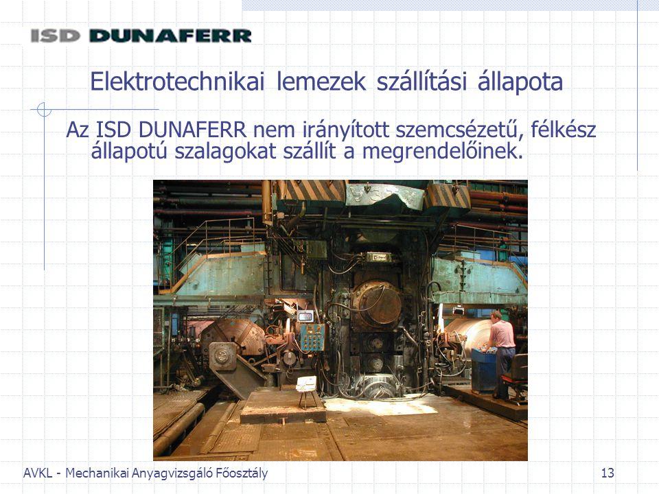 AVKL - Mechanikai Anyagvizsgáló Főosztály 13 Elektrotechnikai lemezek szállítási állapota Az ISD DUNAFERR nem irányított szemcsézetű, félkész állapotú szalagokat szállít a megrendelőinek.