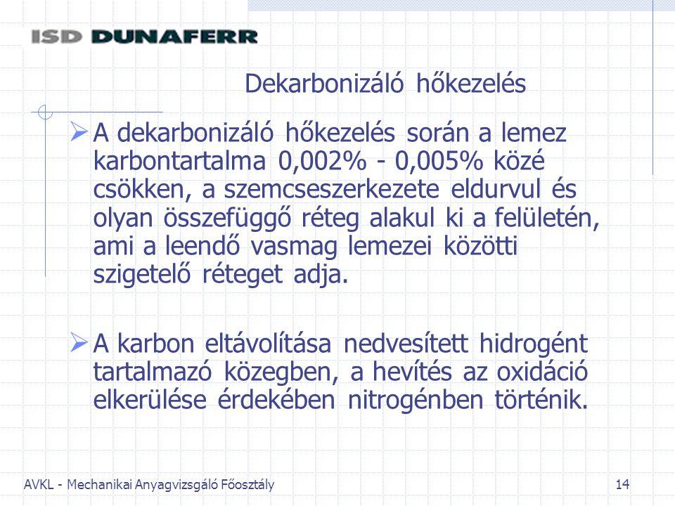 AVKL - Mechanikai Anyagvizsgáló Főosztály 14 Dekarbonizáló hőkezelés  A dekarbonizáló hőkezelés során a lemez karbontartalma 0,002% - 0,005% közé csökken, a szemcseszerkezete eldurvul és olyan összefüggő réteg alakul ki a felületén, ami a leendő vasmag lemezei közötti szigetelő réteget adja.