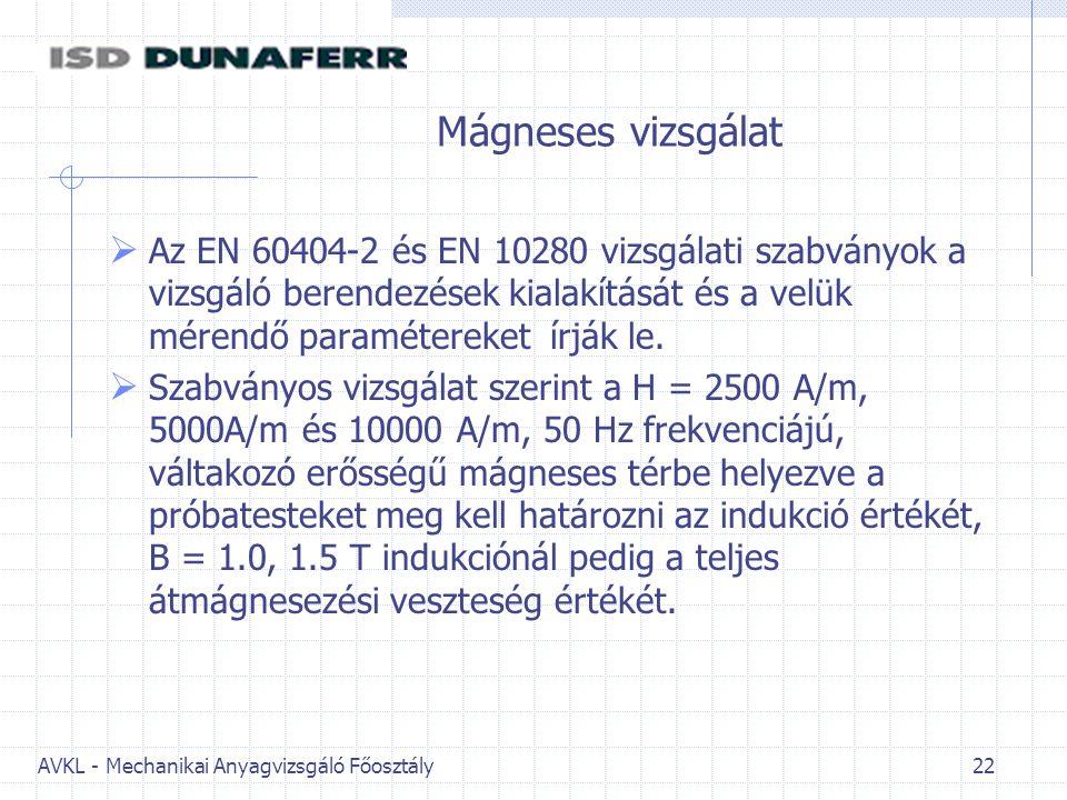 AVKL - Mechanikai Anyagvizsgáló Főosztály 22 Mágneses vizsgálat  Az EN 60404-2 és EN 10280 vizsgálati szabványok a vizsgáló berendezések kialakítását és a velük mérendő paramétereket írják le.