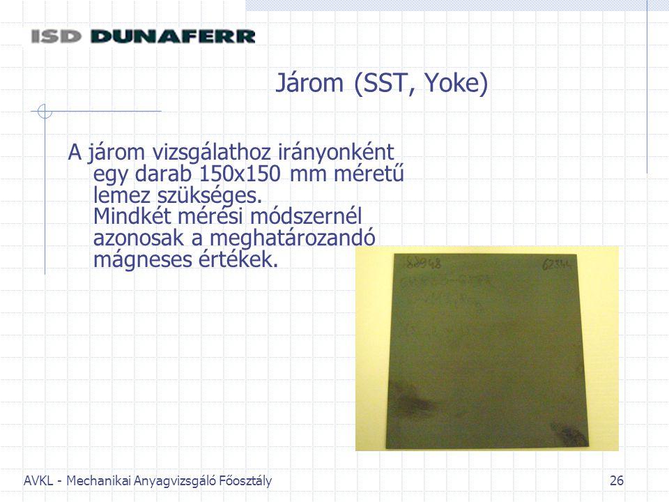 AVKL - Mechanikai Anyagvizsgáló Főosztály 26 Járom (SST, Yoke) A járom vizsgálathoz irányonként egy darab 150x150 mm méretű lemez szükséges. Mindkét m