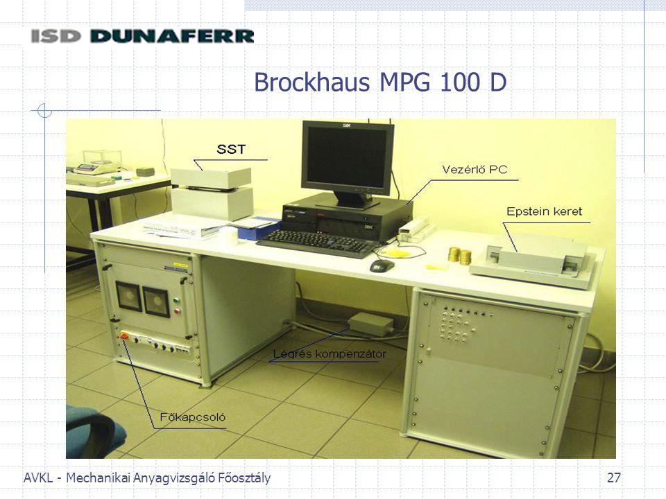 AVKL - Mechanikai Anyagvizsgáló Főosztály 27 Brockhaus MPG 100 D