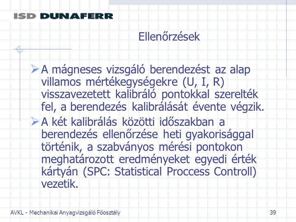 AVKL - Mechanikai Anyagvizsgáló Főosztály 39 Ellenőrzések  A mágneses vizsgáló berendezést az alap villamos mértékegységekre (U, I, R) visszavezetett