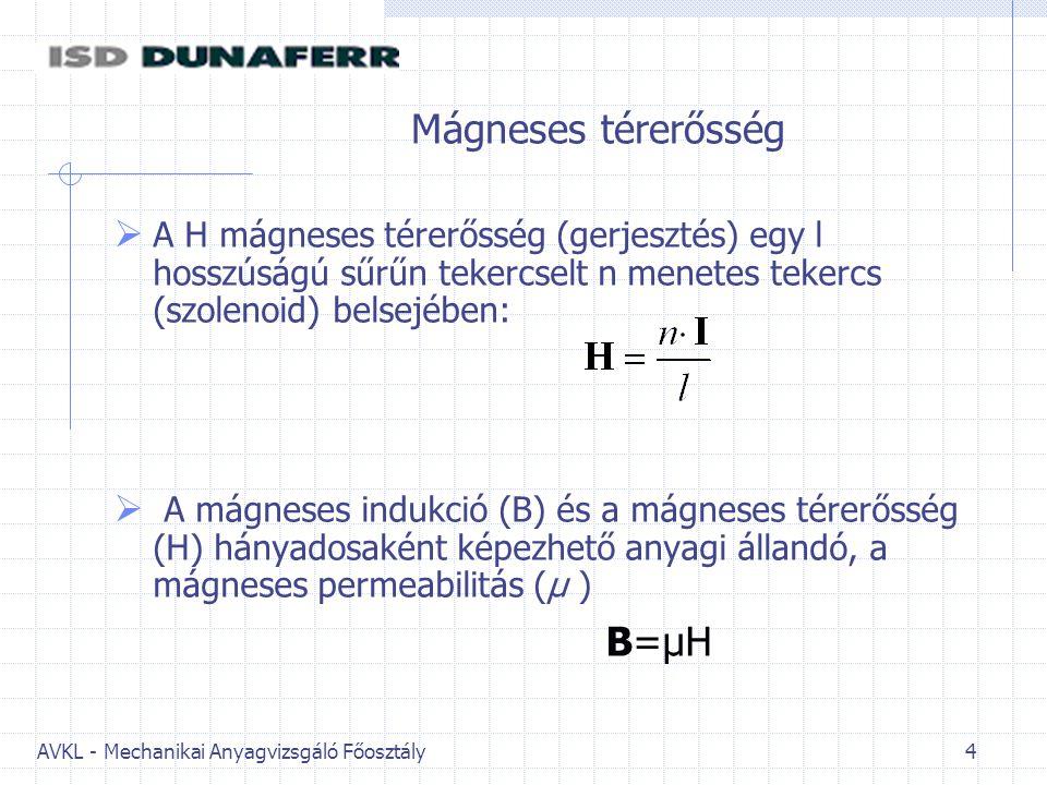 AVKL - Mechanikai Anyagvizsgáló Főosztály 4 Mágneses térerősség  A H mágneses térerősség (gerjesztés) egy l hosszúságú sűrűn tekercselt n menetes tekercs (szolenoid) belsejében:  A mágneses indukció (B) és a mágneses térerősség (H) hányadosaként képezhető anyagi állandó, a mágneses permeabilitás (µ ) B=µH