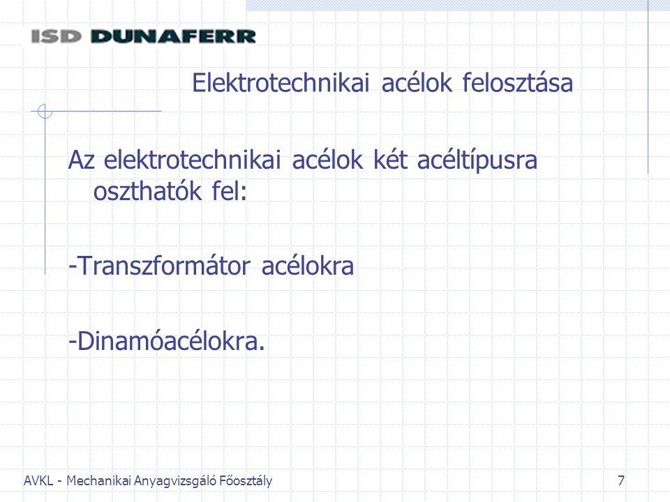 AVKL - Mechanikai Anyagvizsgáló Főosztály 7 Elektrotechnikai acélok felosztása Az elektrotechnikai acélok két acéltípusra oszthatók fel: -Transzformátor acélokra -Dinamóacélokra.