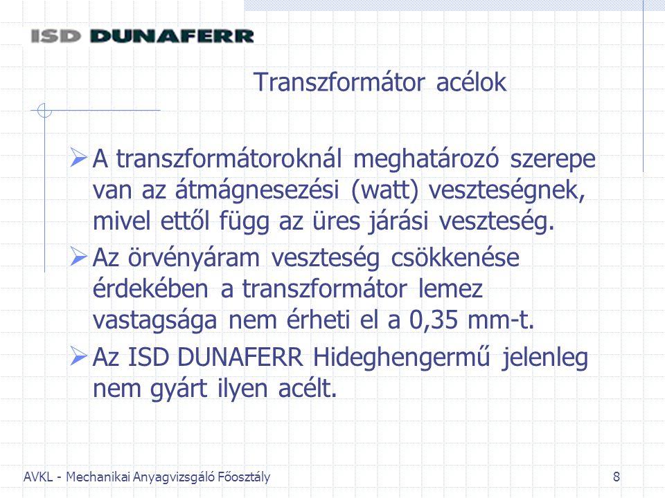 AVKL - Mechanikai Anyagvizsgáló Főosztály 8 Transzformátor acélok  A transzformátoroknál meghatározó szerepe van az átmágnesezési (watt) veszteségnek, mivel ettől függ az üres járási veszteség.