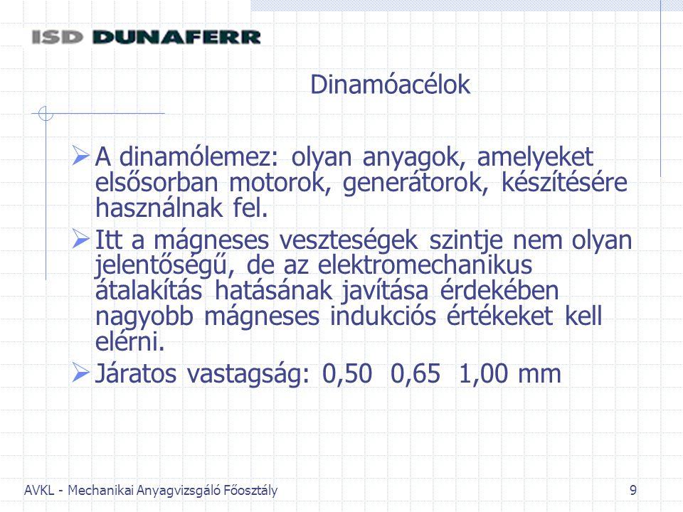 AVKL - Mechanikai Anyagvizsgáló Főosztály 9 Dinamóacélok  A dinamólemez: olyan anyagok, amelyeket elsősorban motorok, generátorok, készítésére haszná