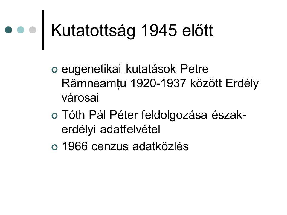 Kutatottság 1945 előtt eugenetikai kutatások Petre Râmneamţu 1920-1937 között Erdély városai Tóth Pál Péter feldolgozása észak- erdélyi adatfelvétel 1966 cenzus adatközlés