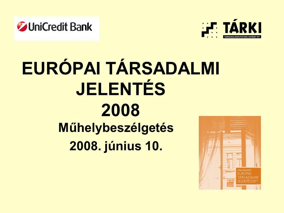 EURÓPAI TÁRSADALMI JELENTÉS 2008 Műhelybeszélgetés 2008. június 10.