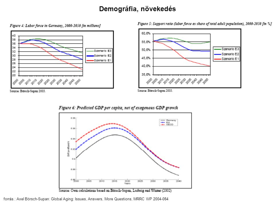forrás.: Axel Börsch-Supan: Global Aging: Issues, Answers, More Questions, MRRC WP 2004-084 Demográfia, növekedés
