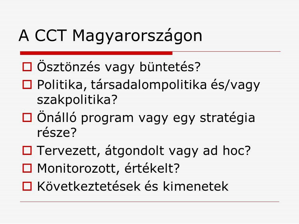 A CCT Magyarországon  Ösztönzés vagy büntetés.