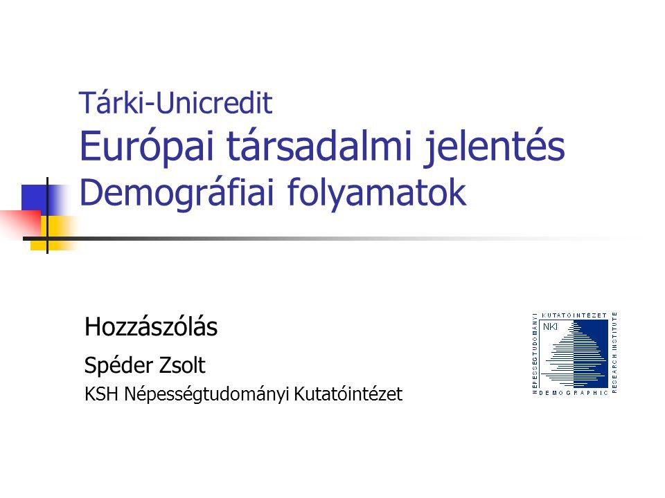 A jelentés és a kérdések Demográfiai folyamatok összehasonlító perspektívában Termékenység, halandóság, vándorlás EU27-EU10-Magyarország Társadalmi-gazdasági következmények: Öregedés: idős eltartottsági ráta, jóléti kiadások Vándorlás: .
