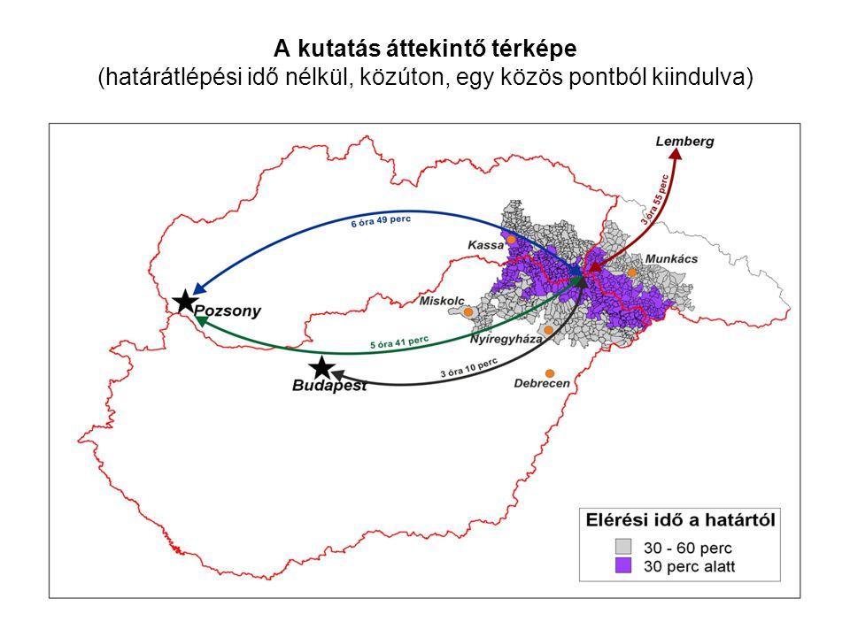 A kutatás áttekintő térképe (határátlépési idő nélkül, közúton, egy közös pontból kiindulva)