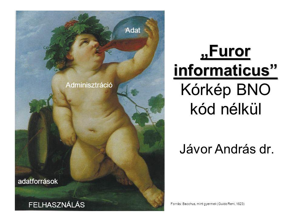 """""""Furor informaticus"""" """"Furor informaticus"""" Kórkép BNO kód nélkül Jávor András dr. Adat Adminisztráció FELHASZNÁLÁS adatforrások Forrás: Bacchus, mint g"""