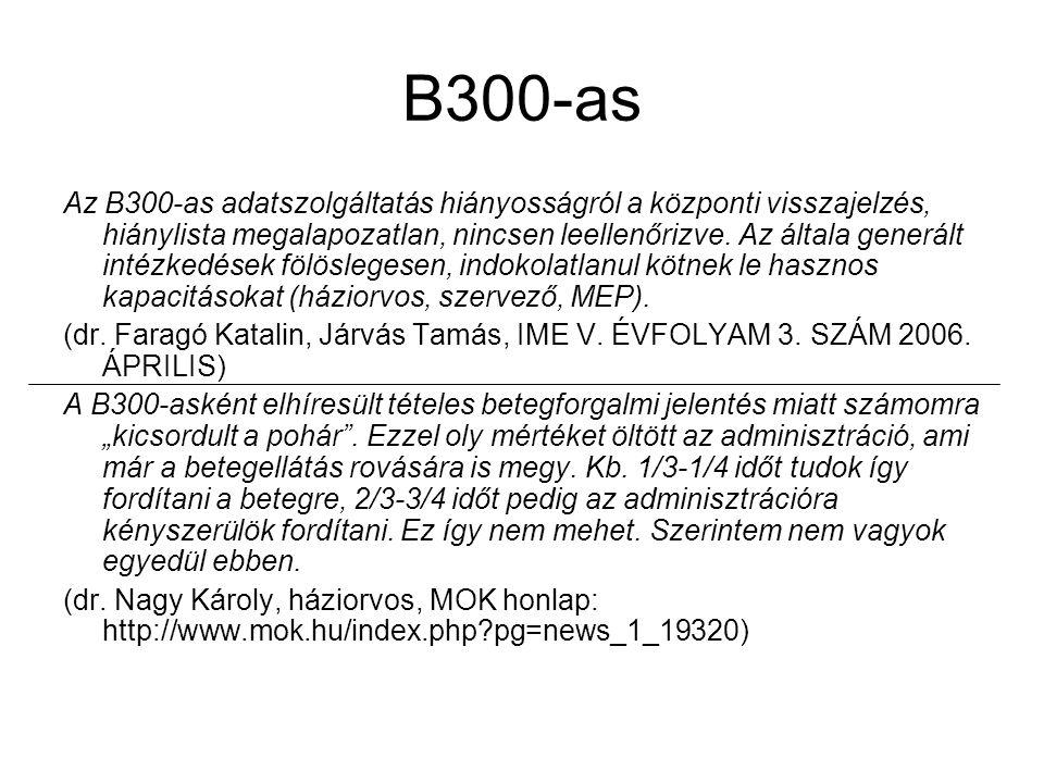 B300-as Az B300-as adatszolgáltatás hiányosságról a központi visszajelzés, hiánylista megalapozatlan, nincsen leellenőrizve. Az általa generált intézk