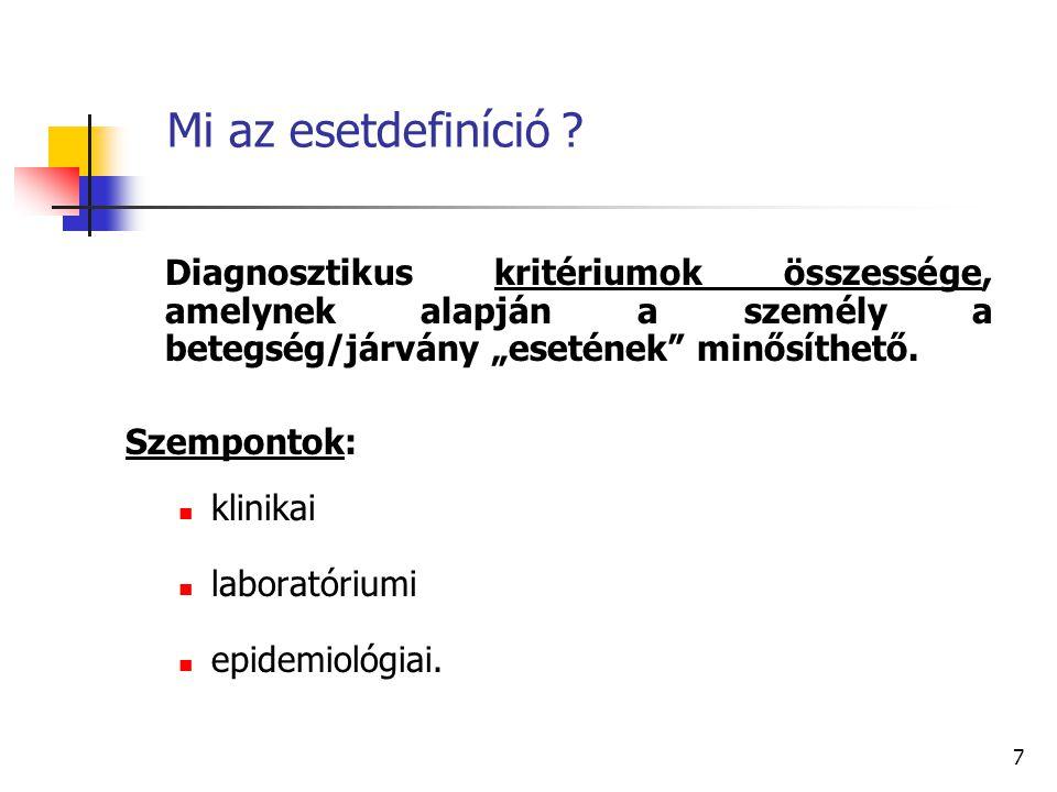 """7 Mi az esetdefiníció ? Diagnosztikus kritériumok összessége, amelynek alapján a személy a betegség/járvány """"esetének"""" minősíthető. Szempontok: klinik"""
