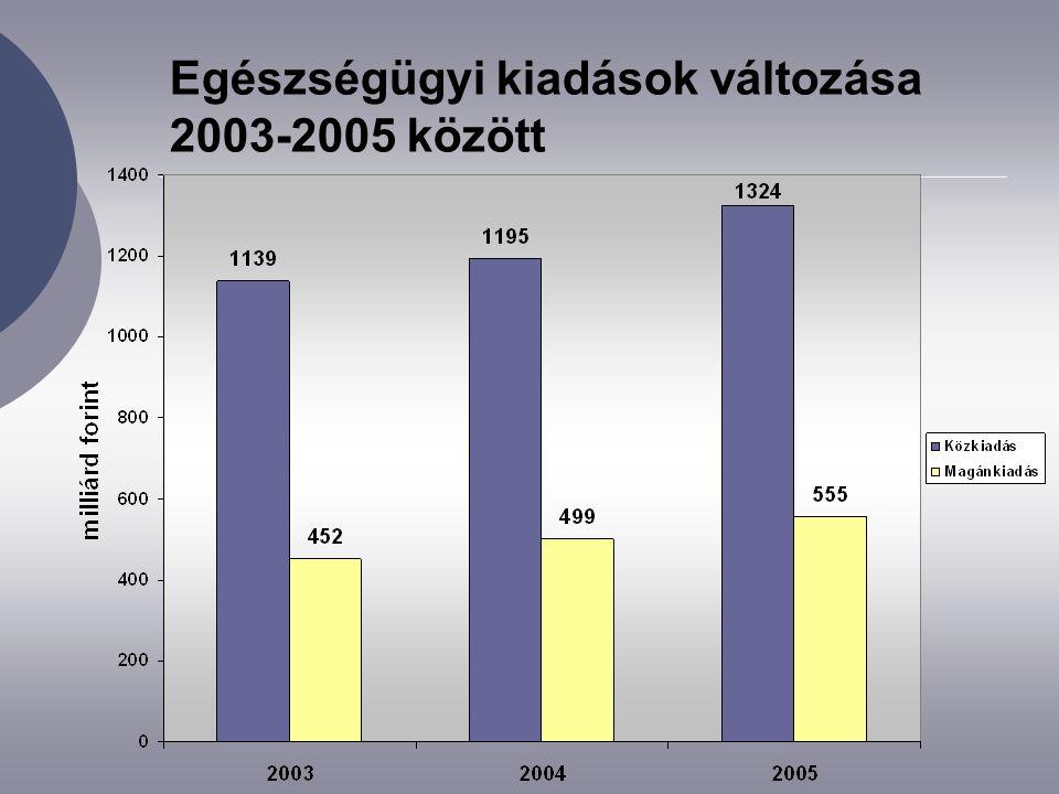 2005. évi egészségügyi kiadások megoszlása finanszírozók szerint