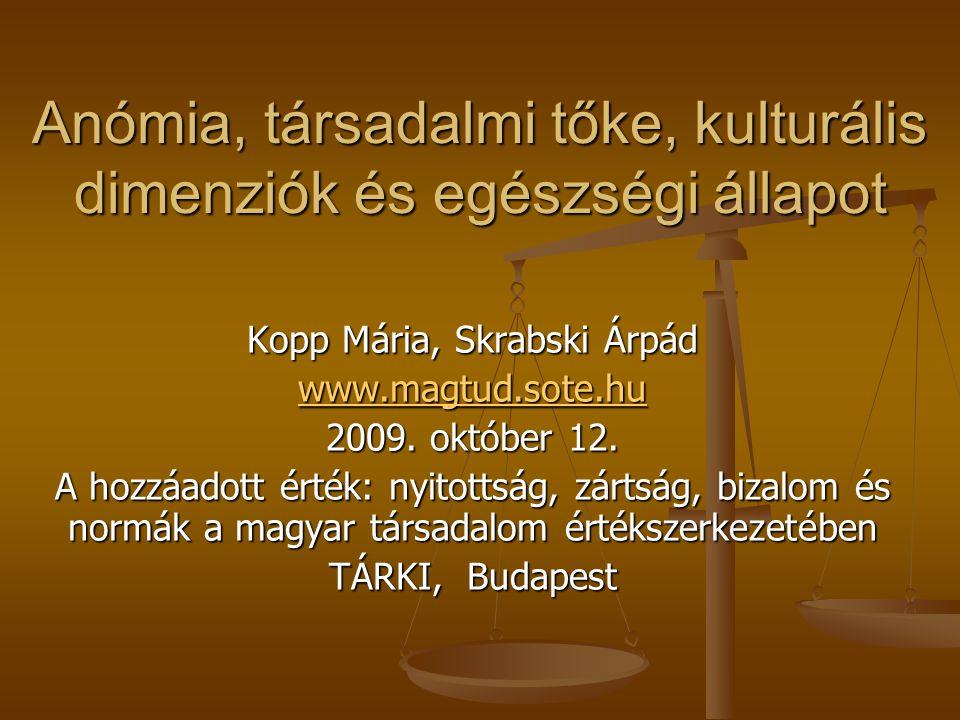 Anómia, társadalmi tőke, kulturális dimenziók és egészségi állapot Kopp Mária, Skrabski Árpád www.magtud.sote.hu 2009. október 12. A hozzáadott érték: