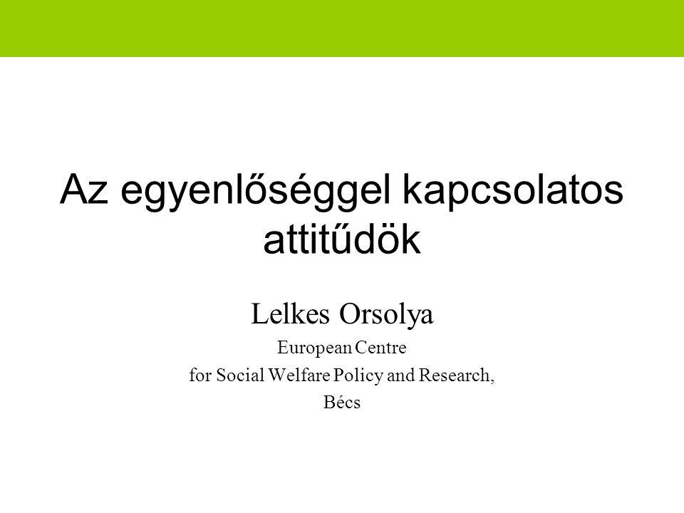 Az egyenlőséggel kapcsolatos attitűdök Lelkes Orsolya European Centre for Social Welfare Policy and Research, Bécs