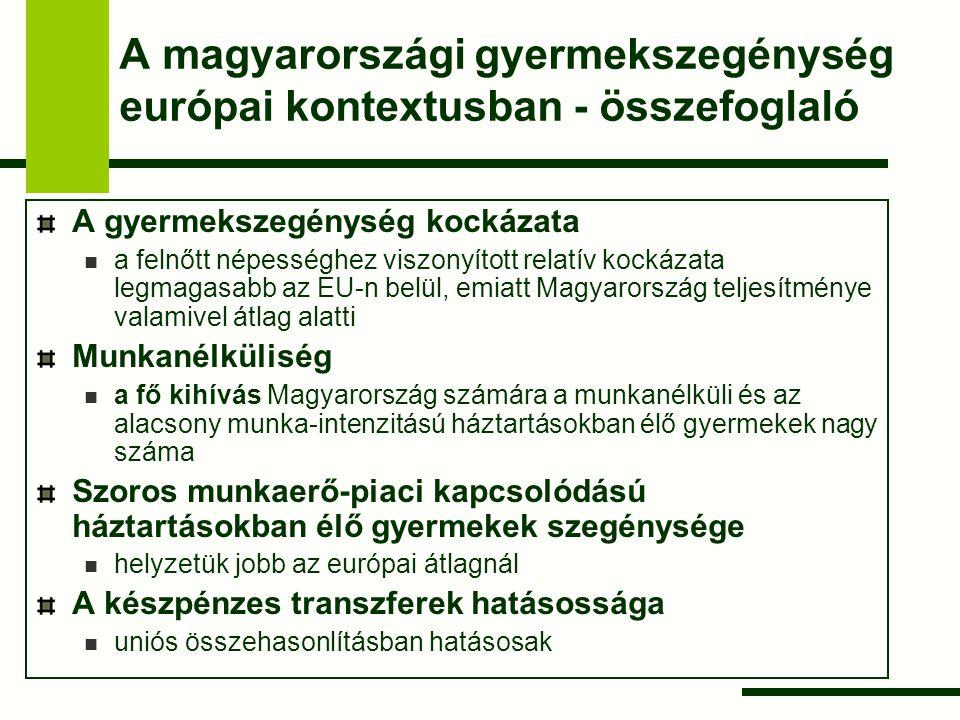A magyarországi gyermekszegénység európai kontextusban - összefoglaló A gyermekszegénység kockázata a felnőtt népességhez viszonyított relatív kockáza