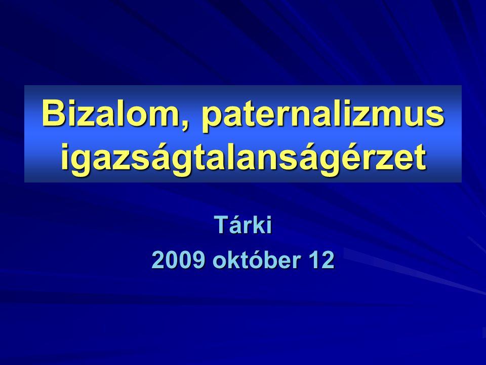Bizalom, paternalizmus igazságtalanságérzet Tárki 2009 október 12