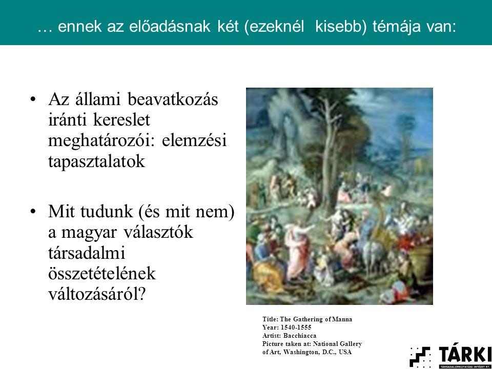 … ennek az előadásnak két (ezeknél kisebb) témája van: Az állami beavatkozás iránti kereslet meghatározói: elemzési tapasztalatok Mit tudunk (és mit nem) a magyar választók társadalmi összetételének változásáról.
