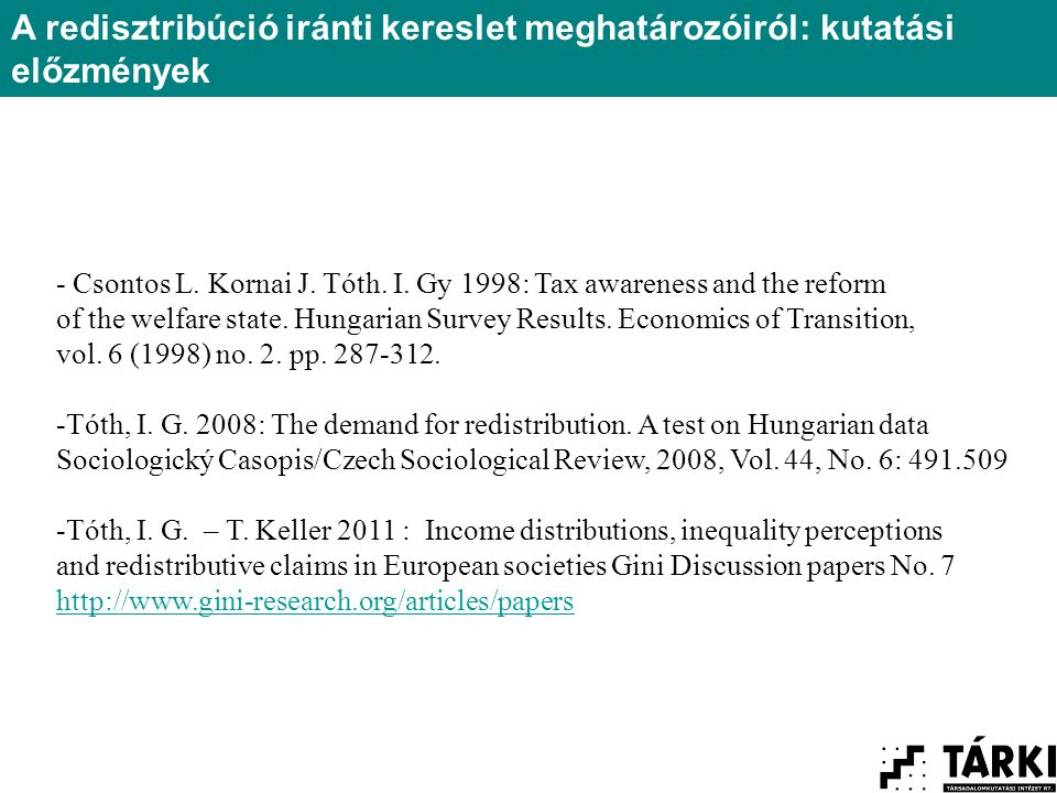 - Csontos L. Kornai J. Tóth. I. Gy 1998: Tax awareness and the reform of the welfare state.