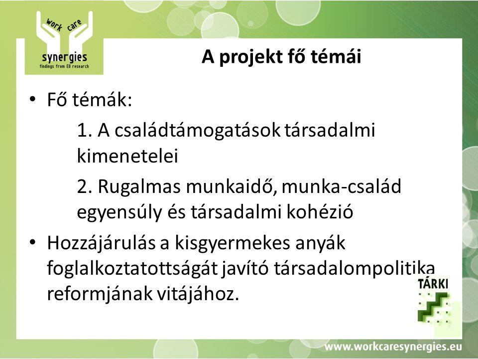 A projekt fő témái Fő témák: 1. A családtámogatások társadalmi kimenetelei 2.