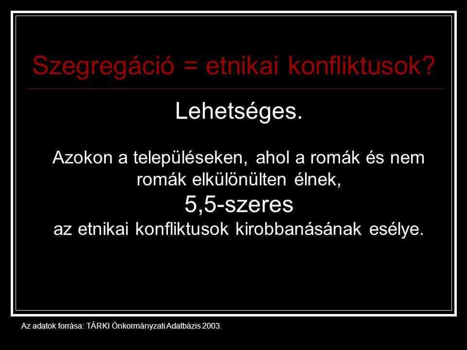 Szegregáció = etnikai konfliktusok.
