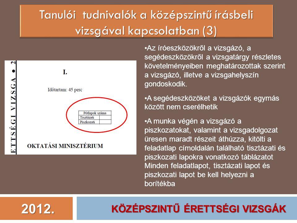 2012. Az íróeszközökről a vizsgázó, a segédeszközökről a vizsgatárgy részletes követelményeiben meghatározottak szerint a vizsgázó, illetve a vizsgahe