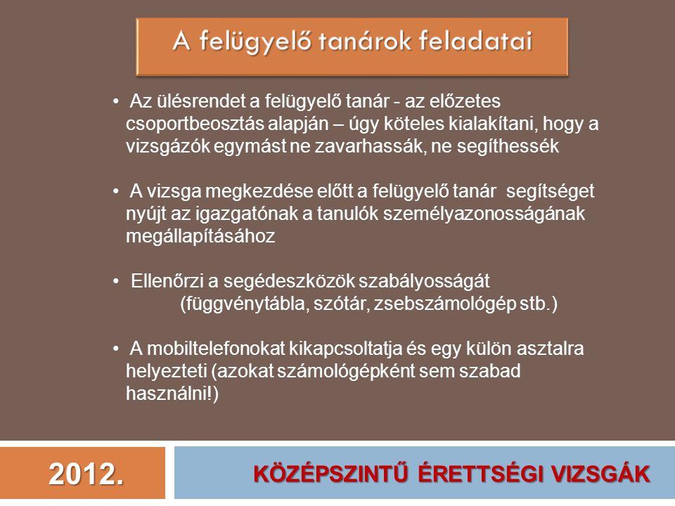 2012. Az ülésrendet a felügyelő tanár - az előzetes csoportbeosztás alapján – úgy köteles kialakítani, hogy a vizsgázók egymást ne zavarhassák, ne seg