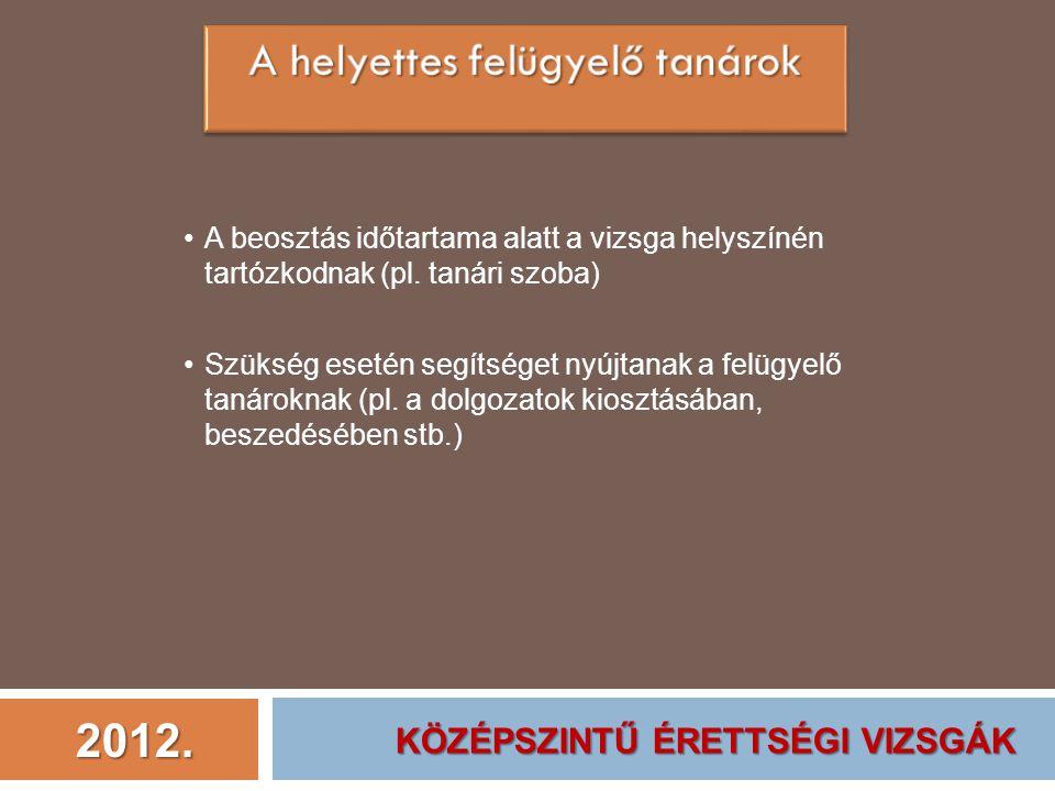 2012. A beosztás időtartama alatt a vizsga helyszínén tartózkodnak (pl. tanári szoba) Szükség esetén segítséget nyújtanak a felügyelő tanároknak (pl.