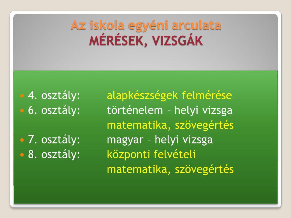 Az iskola egyéni arculata MÉRÉSEK, VIZSGÁK 4. osztály:alapkészségek felmérése 6. osztály:történelem – helyi vizsga matematika, szövegértés 7. osztály: