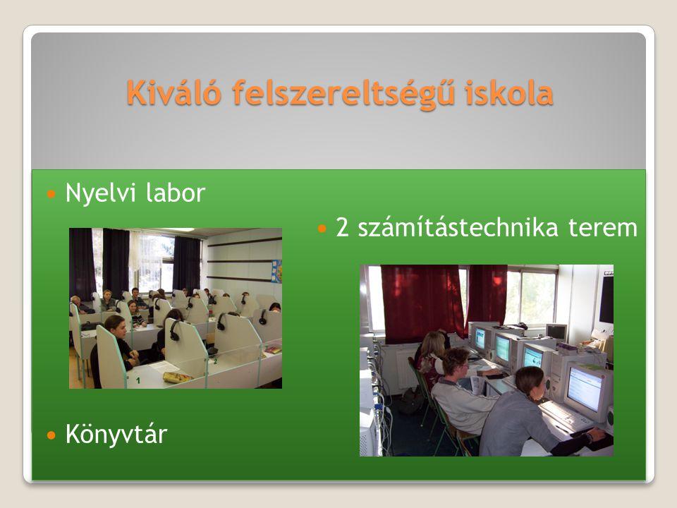 Kiváló felszereltségű iskola Nyelvi labor 2 számítástechnika terem Könyvtár Nyelvi labor 2 számítástechnika terem Könyvtár