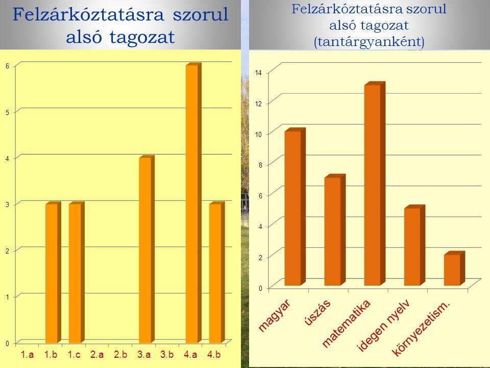 Felzárkóztatásra szorul alsó tagozat Felzárkóztatásra szorul alsó tagozat (tantárgyanként)