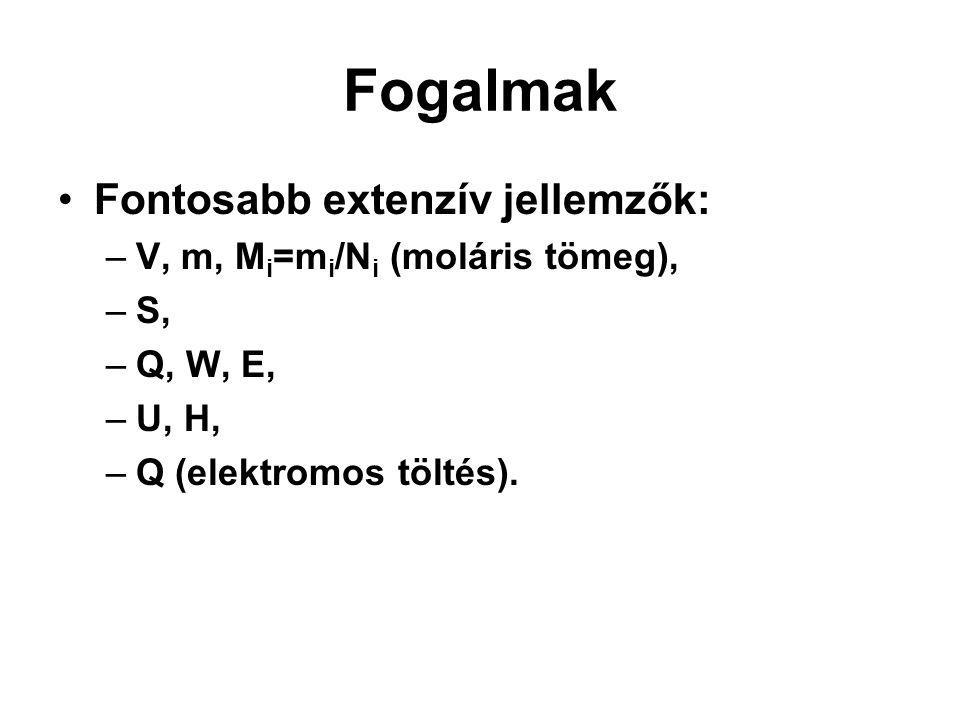 Fogalmak Fontosabb extenzív jellemzők: –V, m, M i =m i /N i (moláris tömeg), –S, –Q, W, E, –U, H, –Q (elektromos töltés).