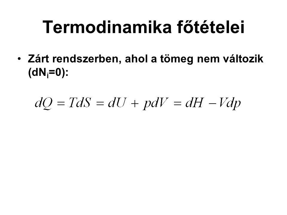 Termodinamika főtételei Zárt rendszerben, ahol a tömeg nem változik (dN i =0):