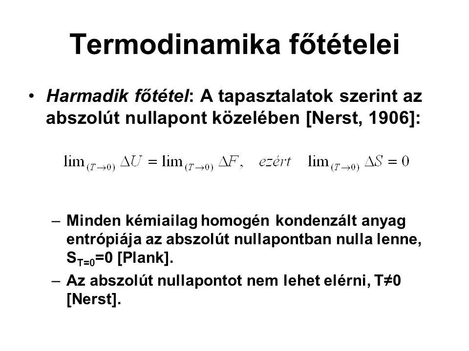 Termodinamika főtételei Harmadik főtétel: A tapasztalatok szerint az abszolút nullapont közelében [Nerst, 1906]: –Minden kémiailag homogén kondenzált