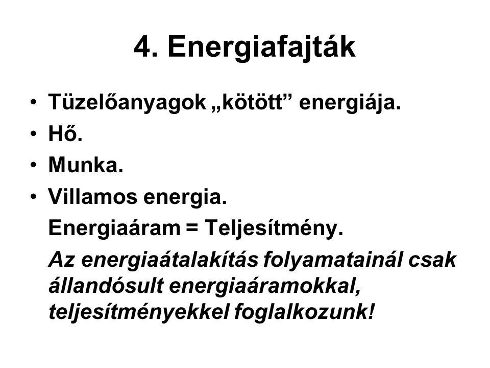"""4. Energiafajták Tüzelőanyagok """"kötött"""" energiája. Hő. Munka. Villamos energia. Energiaáram = Teljesítmény. Az energiaátalakítás folyamatainál csak ál"""