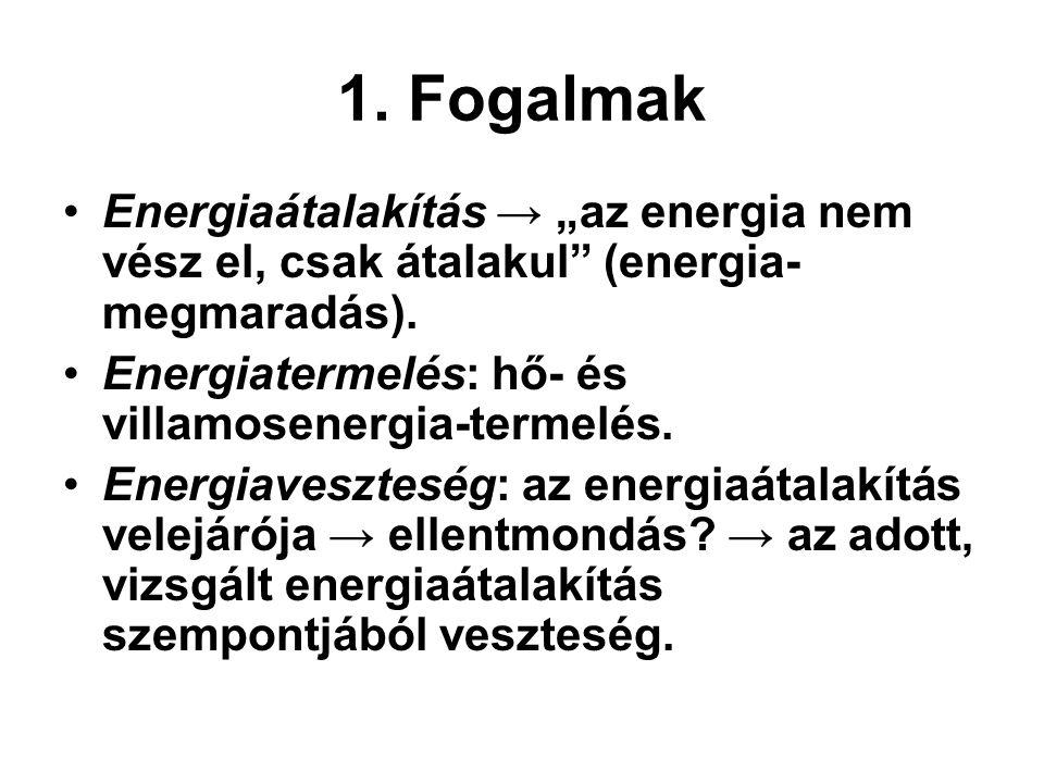 """1. Fogalmak Energiaátalakítás → """"az energia nem vész el, csak átalakul"""" (energia- megmaradás). Energiatermelés: hő- és villamosenergia-termelés. Energ"""