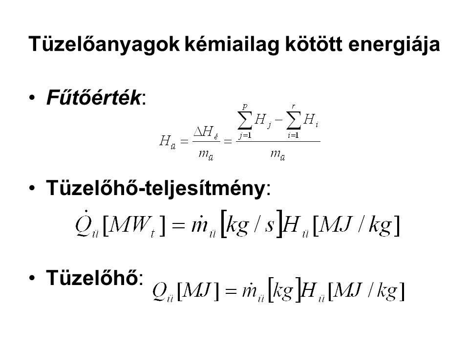Tüzelőanyagok kémiailag kötött energiája Fűtőérték: Tüzelőhő-teljesítmény: Tüzelőhő: