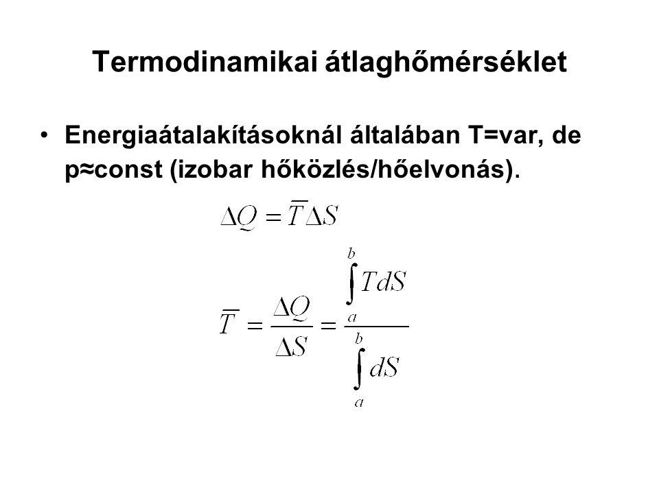 Termodinamikai átlaghőmérséklet Energiaátalakításoknál általában T=var, de p≈const (izobar hőközlés/hőelvonás).