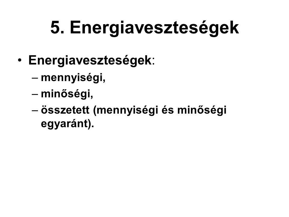 5. Energiaveszteségek Energiaveszteségek: –mennyiségi, –minőségi, –összetett (mennyiségi és minőségi egyaránt).