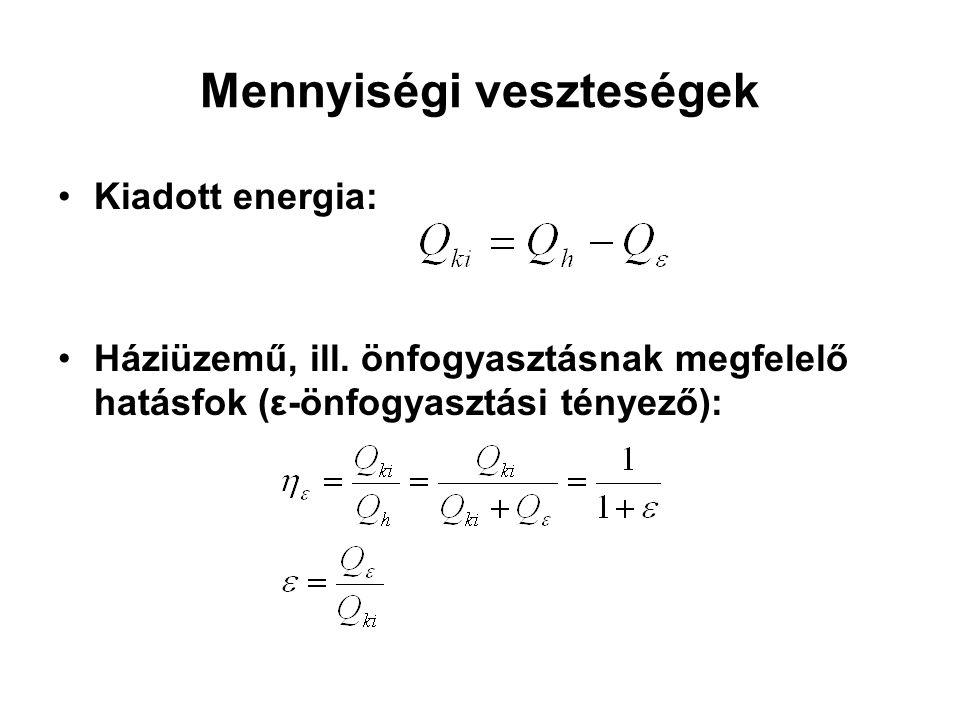 Mennyiségi veszteségek Kiadott energia: Háziüzemű, ill. önfogyasztásnak megfelelő hatásfok (ε-önfogyasztási tényező):