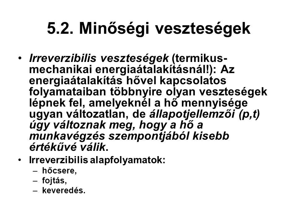 5.2. Minőségi veszteségek Irreverzibilis veszteségek (termikus- mechanikai energiaátalakításnál!): Az energiaátalakítás hővel kapcsolatos folyamataiba