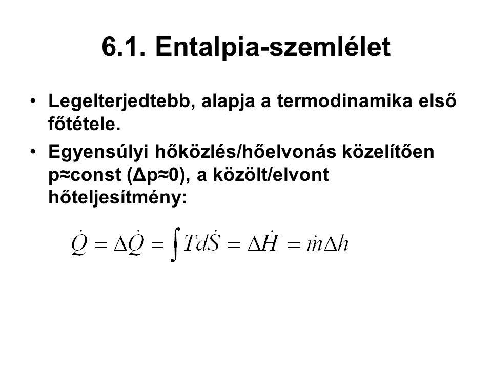 6.1. Entalpia-szemlélet Legelterjedtebb, alapja a termodinamika első főtétele. Egyensúlyi hőközlés/hőelvonás közelítően p≈const (Δp≈0), a közölt/elvon