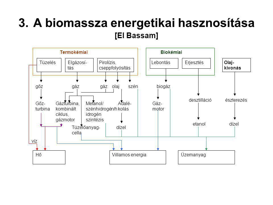 3. A biomassza energetikai hasznosítása [El Bassam] TüzelésElgázosí- tás Pirolízis, cseppfolyósítás Termokémiai LebontásErjesztés Biokémiai Olaj- kivo