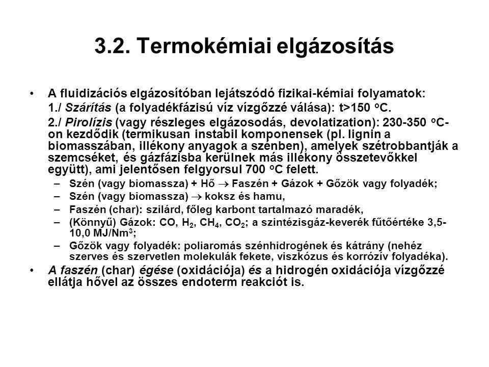 3.2. Termokémiai elgázosítás A fluidizációs elgázosítóban lejátszódó fizikai-kémiai folyamatok: 1./ Szárítás (a folyadékfázisú víz vízgőzzé válása): t