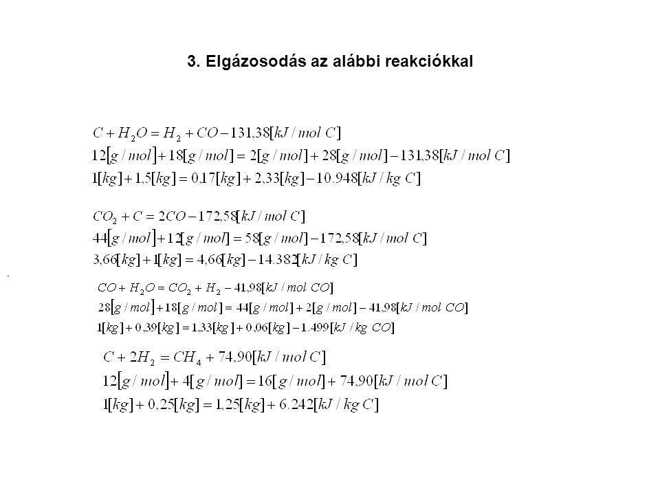 3. Elgázosodás az alábbi reakciókkal...