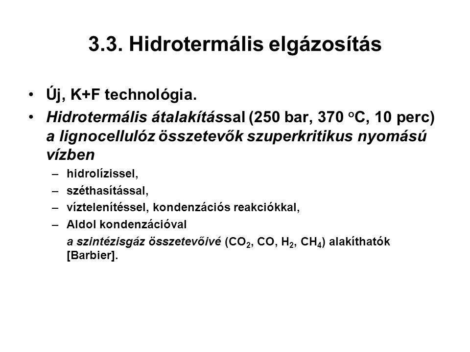 3.3. Hidrotermális elgázosítás Új, K+F technológia. Hidrotermális átalakítással (250 bar, 370 o C, 10 perc) a lignocellulóz összetevők szuperkritikus